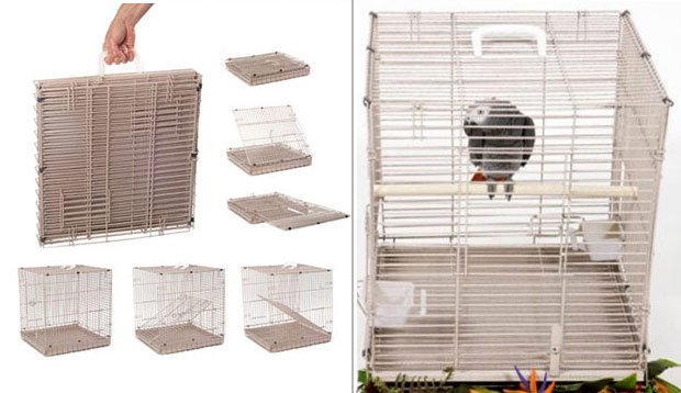 The A&E collapsible transport carrier folds up like a briefcase for easy storage. It easily fits birds like African Grey parrots and larger, and is strong enough for cockatoos.