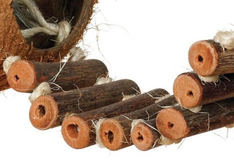 Prevue Naturals Coco Hideaway parrot ladder coconut toy