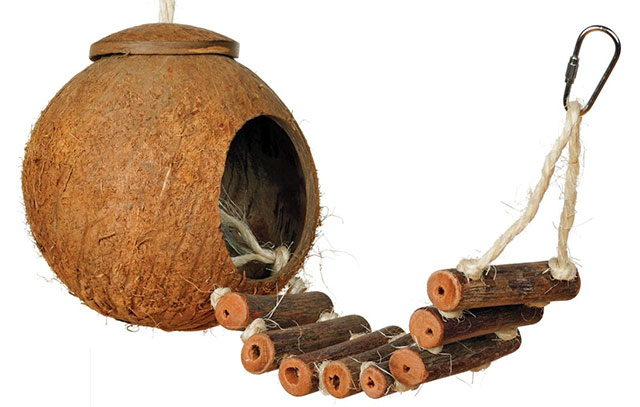 Coco Hideaway Naturals coconut and wood bird toy
