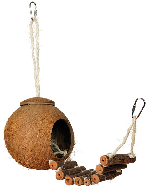 Prevue Naturals Coco Hideaway parrot ladder coconut toy