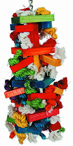Paradise knots block wood and rope toy for parrots large size