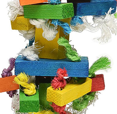 Close up of the texture of the Knots 'n Blocks bird toy